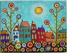 7 Houses, Blooms & A Moon Painting by Karla G by karlagerard, via Flickr