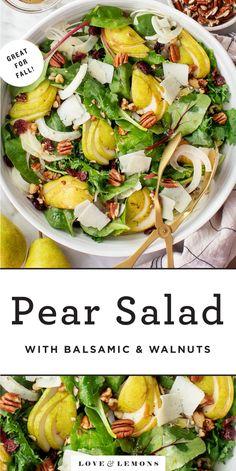 Pear Salad with Balsamic and Walnuts Recipe - Love and Lemons Pear Salad, Fennel Salad, Pear Walnut Salad, Healthy Salad Recipes, Vegetarian Recipes, Balsamic Salad Recipes, Veggie Recipes, Healthy Foods, Side Dish Recipes