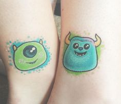 Awesome Disney Pixar Tattoos: Monsters Inc. Cousin Tattoos, Sibling Tattoos, Bff Tattoos, Cartoon Tattoos, Tattoos For Daughters, Small Tattoos, Sleeve Tattoos, Cool Tattoos, Tatoos