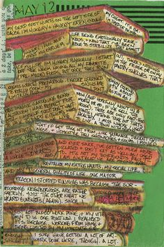 Love this journal page by AnicaAnscott (A.J.Tallman). The writing on the books is so creative.