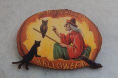 Vintage Style Witch & Pumpkin Brooch or Scarf Pin Jewelry Wood Multi-Color #Handmade http://www.ebay.com/itm/161838391610?ssPageName=STRK:MESELX:IT&_trksid=p3984.m1555.l2649