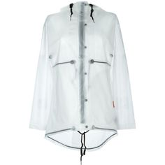 Hunter Clear Hooded Raincoat ($186) ❤ liked on Polyvore featuring outerwear, coats, white, hooded coat, hooded rain coat, clear raincoat, white raincoat and clear coat