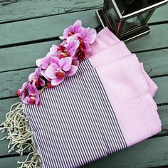 Baby Pink & Medium Grey Honeycomb Fouta -  a beach towel, a bath towel, a sarong, a throw, a tablecloth or a picnic blanket.