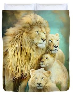 White Lion Family - Unity Duvet Cover by Carol Cavalaris. Available in king, queen, full, and twin. Our soft microfiber duvet covers are hand sewn and include a hidden zipper for easy washing and assembly. Your selected image is printed on the top surface with a soft white surface underneath. All duvet covers are machine washable with cold water and a mild detergent.