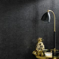 Graham Brown Crocodile Black Wallpaper - Black Elegant crocodile skin pattern adds sophistication and fun to your space. Experience the sophistication and personality wallpaper adds to your decor without the hassle. Black Wallpaper Bedroom, Dark Wallpaper, Black Textured Wallpaper, Wallpaper With Gold, Plaid Wallpaper, Accent Wallpaper, Gothic Wallpaper, Office Wallpaper, Modern Wallpaper