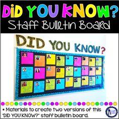 Did You Know Staff Bulletin Board Teacher Morale, Staff Morale, Staff Bulletin Boards, Spotlight Bulletin Board, Faculty Meetings, Staff Motivation, Morale Boosters, School Leadership, School Community