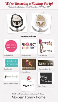 """Project Nursery, Big City Moms, Cupcake Mag, Club MomMe, Rookie Moms, Momma's Gone City, Mommy Loves Coffee and Kelly Tirman have teamed up to collaborate on a """"Modern Family Home"""" pin board inspired by Nuna's Leaf. Join us Wednesday, February 20th at 6pm PST / 9pm EST for a party full of """"pinspiration"""". #nunapinparty #modernfamilyhome"""