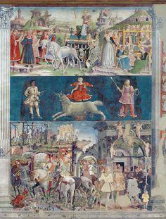 Affresco di Palazzo Schifanoia a Ferrara. Sala dei Mesi: Marzo, segno zodiacale Ariete.