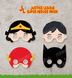 Superhero Inspired set Justice League Wonder woman, Superman, Flash and Batman Printable for birthdays, Instant Digital Download