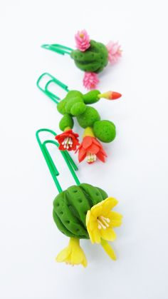Cactus Paper Clip Polymer Clay Flowers Handmade for Lovely Gifts set of 3 pieces #Pink #Wedding #PinkWedding #Paper