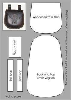 Layout for the moulded possibles pouch – Carteras y pequeñas bolsas – ideas de bolsa Leather Art, Leather Pouch, Leather Design, Leather Tooling, Leather Purses, Leather Handbags, Pouch Pattern, Purse Patterns, Crea Cuir