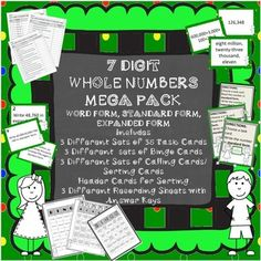 GREAT MEGA PACK for working with 7 digit whole numbers in word, standard, and expanded form...ready to print and use.