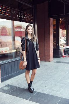 Street Style: Rosedale Zara boots add a touch of New York–style toughness to this swingy black dress