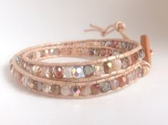 Rose gold copper peach Amber pink bohemian leather double wrap bracelet