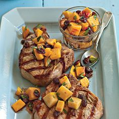 Fresh Summer Peach Recipes   Grilled Pork Porterhouse with Peach Agrodolce   SouthernLiving.com