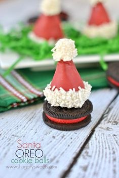 Santa Hat OREO Cookie Balls--Adorable Santa hat shaped OREO cookie balls for your next holiday party!