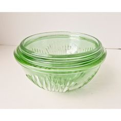 Depression Glass Mixing Bowl Set 3 Bowls Vaseline Green ($75) ❤ liked on Polyvore featuring home and kitchen & dining