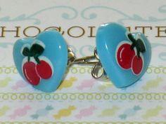 Blue Cherry Heart Stud Earrings Kawaii Tiny Post by DIYArtMart