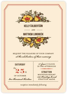 harvest floral wedding invitations by paper dahlia for minted