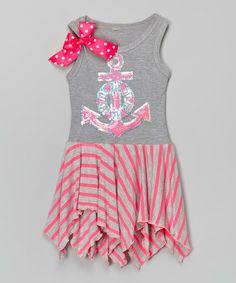 Love this Pink & Silver Anchor Handkerchief Dress - Infant, Toddler & Girls on #zulily! #zulilyfinds