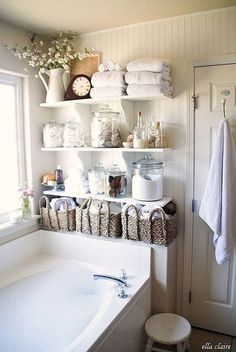 Shabby Chic Bathroom Open Floating Shelves for Storage.