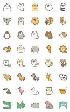 GOOD bear's ZOO emoji – LINE 이모티콘 | LINE STORE Cute Small Drawings, Mini Drawings, Cute Kawaii Drawings, Cute Animal Drawings, Doodle Drawings, Stickers Kawaii, Cute Stickers, Kawaii Doodles, Cute Doodles