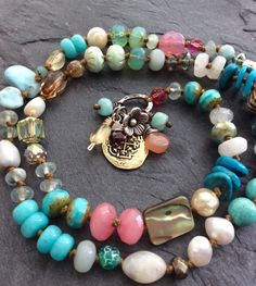 Colorful charm boho necklace  multi charm by Mollymoojewels $127.70