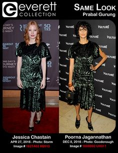 Jessica Chastain (wearing a Prabal Gurung dress) in attendance for LONG DAY'S JOURNEY INTO NIGHT Opening Night on Broadway, American Airlines Theatre, New York, NY April 27, 2016. Photo By: Derek Storm/Everett Collection *** Poorna Jagannathan (wearing a Prabal Gurung dress) at arrivals for Vulture Awards Season Party, Sunset Tower Hotel, Los Angeles, CA December 8, 2016. Photo By: Elizabeth Goodenough/Everett Collection
