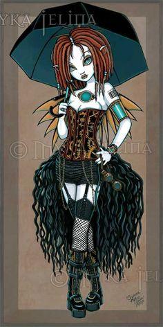 Samara - Fairy & Fantasy Artist Myka Jelina. Official Online Gallery. Fantasy Art, Gothic Faery Art, Tribal & Steam-Punk Fairies. Faerie Tattoos. Acrylic Paintings, Art Prints.