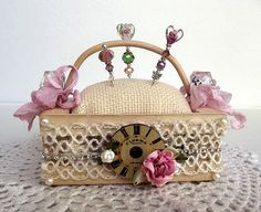Diamonds and Pearls Pin Cushion in Wooden by KeepsakesbyMelissa