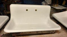 Antique Refinished 22x36 High Back Farm Sink Cast Iron Porcelain American Standa #AmericanStandard