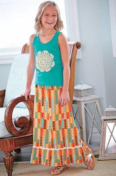 From CWDkids: Doily Tank Top & Geo Arrow Print Maxi Skirt