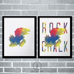 Special Edition Kansas Jayhawk Art Print, University of Kansas Jayhawks Poster, kids room art, office art, rock chalk, rcjh  by DimestoreSaintDesign,