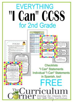 """I Can"" Statements FREE from www.thecurriculumcorner.com for 2nd Grade 