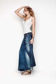 Absolutly...we all should have a long jean skirt..in our wardrobe..works every season..actually i have way too many..so i will be sewing in teh next few weeks..designing some new twists on them.