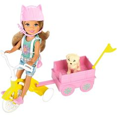 Ride to the carnival in style with this adorable Chelsea doll that comes with a tricycle, wagon and puppy! Chelsea doll can sit on the tricycle as it's pushed forward for realistic play -- but then attach her wagon to the trike to really get things moving! There's room inside for her adorable puppy, who's also included so they can enjoy the carnival fun together. Designed in a pretty yellow with white accents, the tricycle is a ray of sunshine, and the pink puppy wagon is just as cute with a…