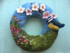 Flower Wreath with Blossoms and Blue-Tit Brooch, complete needle felt kit Felt Flower Wreaths, Felt Wreath, Felt Flowers, Needle Felting Kits, Needle Felted Animals, Felt Christmas, Christmas Ornament, Fairy Crafts, Felt Hearts