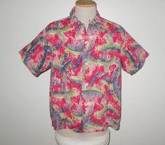 Vintage 1950s Shirt/50s Seersucker Shirt/50s Brushstroke Shirt/50s Abstract…