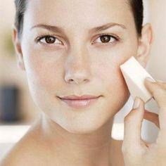 Applying foundation with a sponge