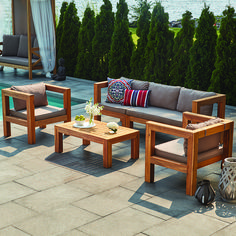 Made of acacia wood, furniture from this patio set will complement ...