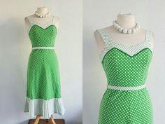Vintage 80s Green & White Polka Dot Tea Dress - US 4 EU 36 UK 8 - Retro 50s 60s Mod Rockabilly