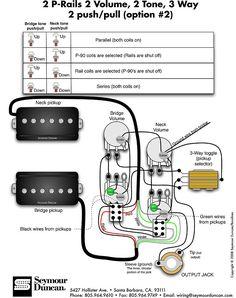 Seymour Duncan P-Rails wiring diagram - 2 P-Rails. 1 Vol. 3 Way & on-off-on Mini Toggle | Tips & Tricks | Guitar pickups. Guitar. Guitar diy