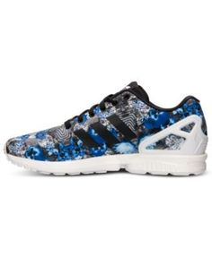adidas Men\u0027s Zx Flux Floral Print Running Sneakers from Finish Line - White  8