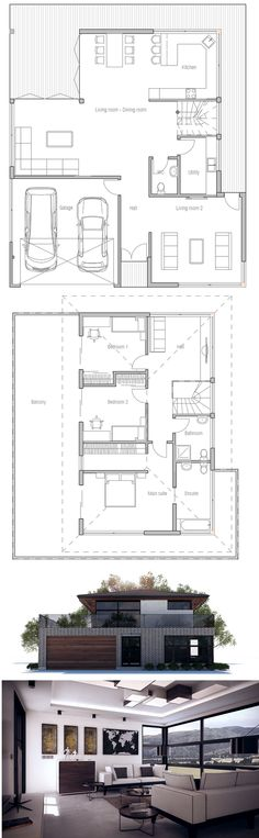 Small Modern House. Floor Plan from ConceptHome.com