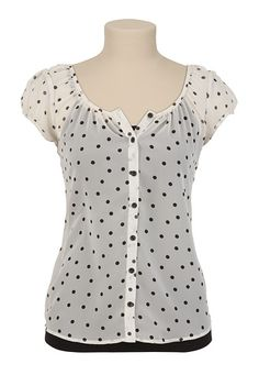 Love polka dots! Cap Sleeve Dot Print Button Up (blank tank not included) - maurices.com ($26.00)