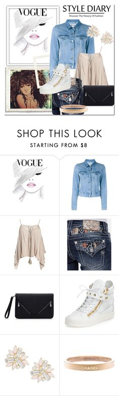 """summer day"" by kaykatty-kb ❤ liked on Polyvore featuring Acne Studios, Sans Souci, Miss Me, Giuseppe Zanotti, Cara and Chanel"