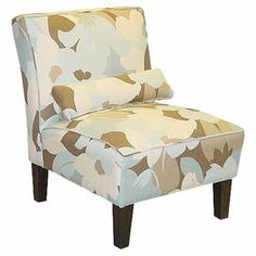 """Armless accent chair with abstract floral-print upholstery. Handmade in the USA.Product: ChairConstruction Material: Wood and fabric  Color: Multi   Features: Handmade in the USA  Dimensions: 33"""" H x 32"""" W x 25"""" D"""