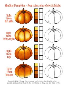 An awesome little guide on how to color pumpkins