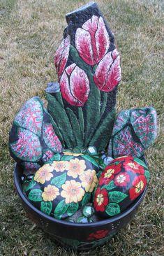 Rock flower planter, Hand painted rocks, Ceramic pot, Tulips, Primroses, Caladiums, Painted Ceramic planter. $95.00, via Etsy.