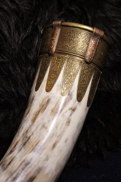 Sutton Hoo replica drinking horn, mouth detail, made by Master Ajmund from Belarus.